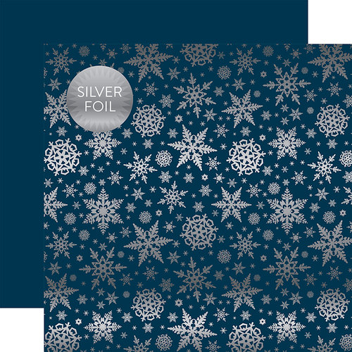 Carta Bella Paper - Winter Wonderland Silver Foil Collection - 12 x 12 Double Sided Paper - Navy