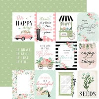 Carta Bella Paper - Flower Garden Collection - 12 x 12 - Double Sided Paper - 3 x 4 Journaling Cards