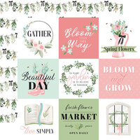 Carta Bella Paper - Flower Garden Collection - 12 x 12 - Double Sided Paper - 4 x 4 Journaling Cards