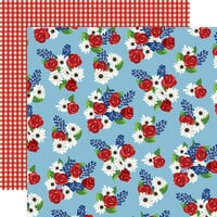 Carta Bella Paper - God Bless America Collection - 12 x 12 Double Sided Paper - Fourth Floral