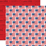 Carta Bella Paper - God Bless America Collection - 12 x 12 Double Sided Paper - Flying Flags