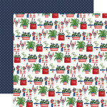 Carta Bella Paper - God Bless America Collection - 12 x 12 Double Sided Paper - Patriotic Pots