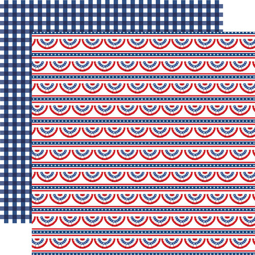 Carta Bella Paper - God Bless America Collection - 12 x 12 Double Sided Paper - Bunting Banners