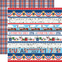 Carta Bella Paper - God Bless America Collection - 12 x 12 Double Sided Paper - Border Strips