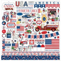 Carta Bella Paper - God Bless America Collection - 12 x 12 Cardstock Stickers - Elements