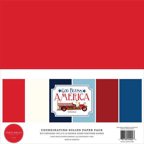 Carta Bella Paper - God Bless America Collection - 12 x 12 Paper Pack - Solids