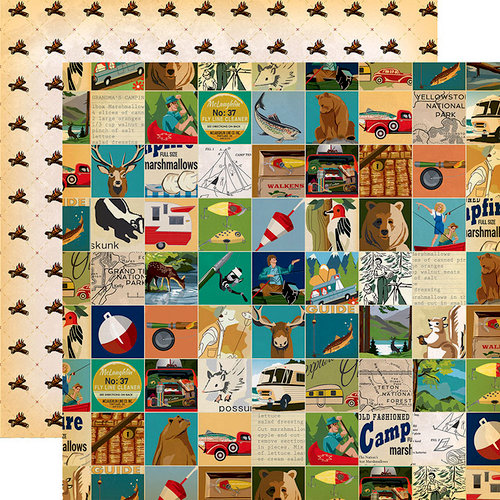 Carta Bella Paper - Gone Camping Collection - 12 x 12 Double Sided Paper - Multi Journaling Cards