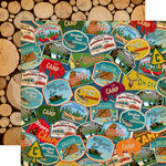 Carta Bella Paper - Gone Camping Collection - 12 x 12 Double Sided Paper - Travel Patches