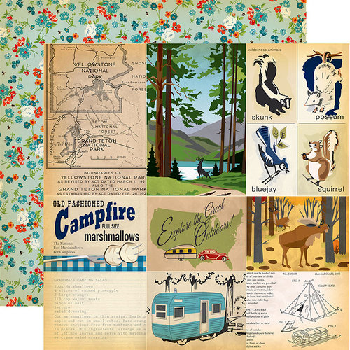 Carta Bella Paper - Gone Camping Collection - 12 x 12 Double Sided Paper - Journaling Cards