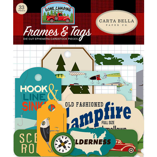 Carta Bella Paper - Gone Camping Collection - Ephemera - Frames and Tags