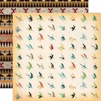 Carta Bella Paper - The Great Outdoors Collection - 12 x 12 Double Sided Paper - Fish Flies