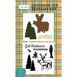 Carta Bella Paper - The Great Outdoors Collection - Designer Die and Clear Acrylic Stamp Set - Outdoor Wilderness