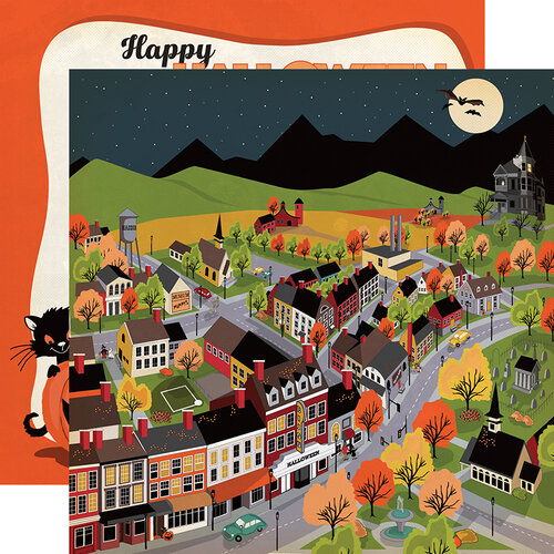 Carta Bella Paper - Happy Halloween Collection - 12 x 12 Double Sided Paper - Halloween Town