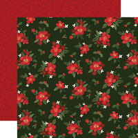 Carta Bella Paper - Hello Christmas Collection - 12 x 12 Double Sided Paper - Poinsettia Floral