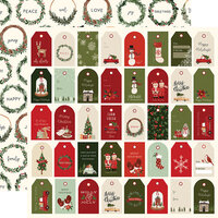Carta Bella Paper - Hello Christmas Collection - 12 x 12 Double Sided Paper - Holiday Tags