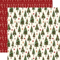 Carta Bella Paper - Hello Christmas Collection - 12 x 12 Double Sided Paper - Merry Trees