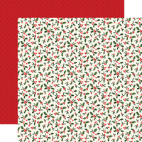 Carta Bella Paper - Hello Christmas Collection - 12 x 12 Double Sided Paper - Holly Berries