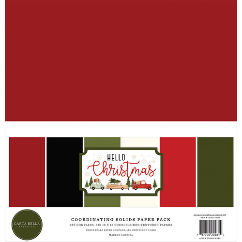 Carta Bella Paper - Hello Christmas Collection - 12 x 12 Paper Pack - Solids