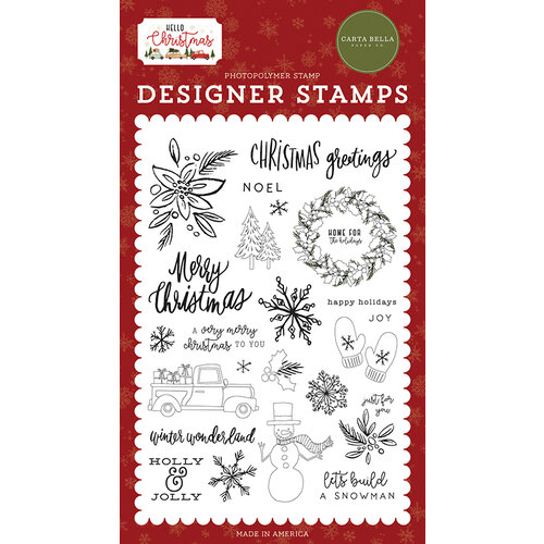 Carta Bella Paper - Hello Christmas Collection - Clear Photopolymer Stamps - Christmas Greetings