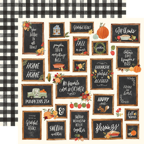 Carta Bella Paper - Hello Autumn Collection - 12 x 12 Double Sided Paper - Give Thanks Boards