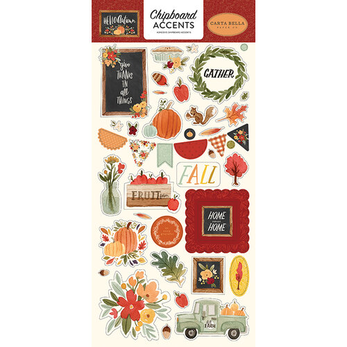 Carta Bella Paper - Hello Autumn Collection - Chipboard Stickers - Accents