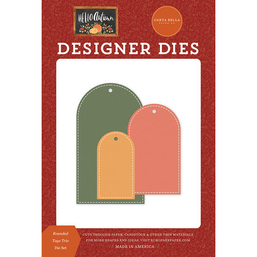 Carta Bella Paper - Hello Autumn Collection - Designer Dies - Rounded Tags Trio