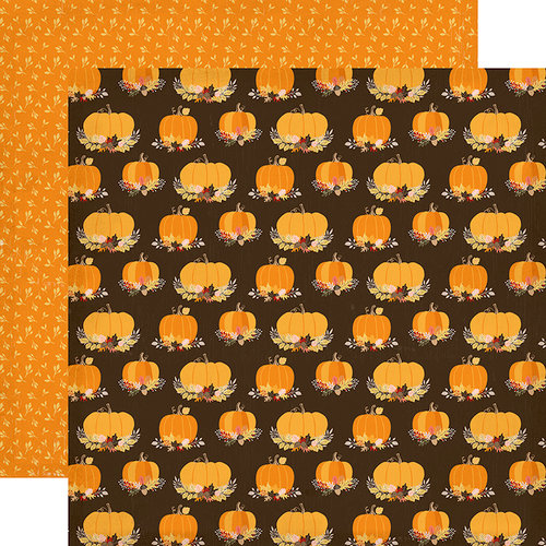 Carta Bella Paper - Hello Fall Collection - 12 x 12 Double Sided Paper - Pumpkin Spice