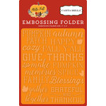 Carta Bella Paper - Hello Fall Collection - Embossing Folder - Give Thanks