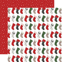 Carta Bella Paper - Home For Christmas Collection - 12 x 12 Double Sided Paper - Stockings Were Hung