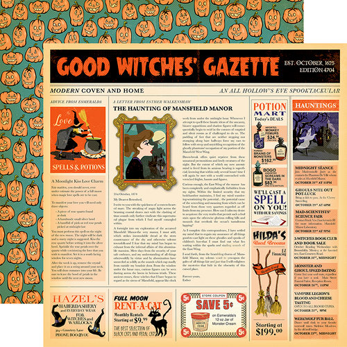 Carta Bella Paper - Haunted House Collection - Halloween - 12 x 12 Double Sided Paper - Good Witches