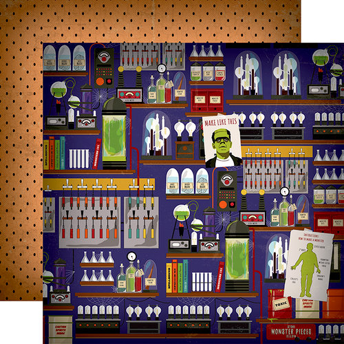 Carta Bella Paper - Haunted House Collection - Halloween - 12 x 12 Double Sided Paper - Mad Scientist's Laboratory