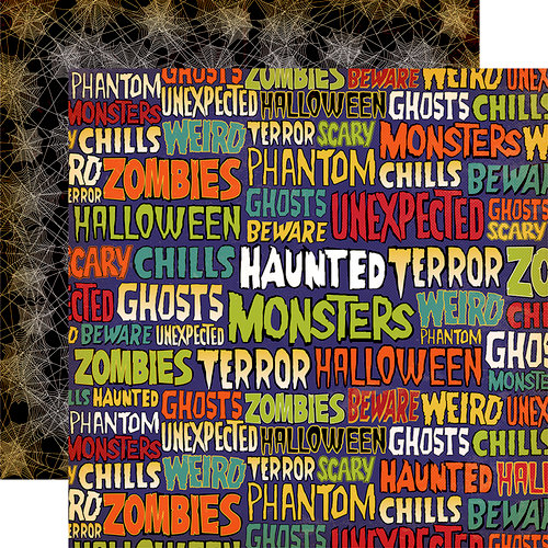 Carta Bella Paper - Haunted House Collection - Halloween - 12 x 12 Double Sided Paper - Ghastly Words