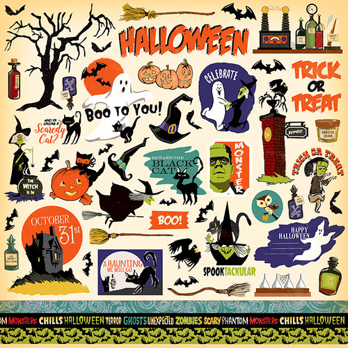 Carta Bella Paper - Haunted House Collection - Halloween - 12 x 12 Cardstock Stickers