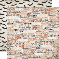 Carta Bella Paper - Halloween Market Collection - 12 x 12 Double Sided Paper - Halloween Words
