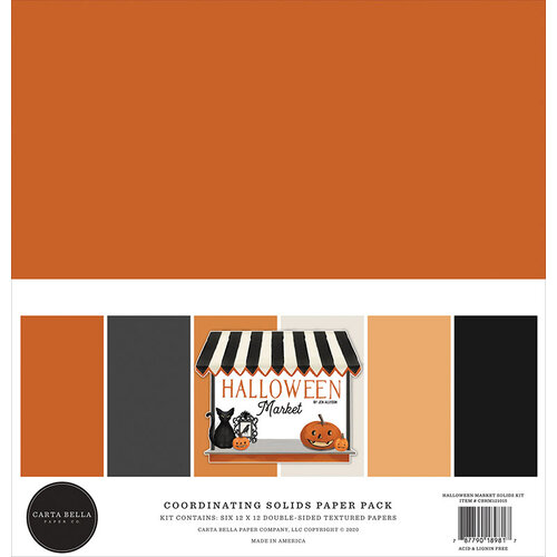 Carta Bella Paper - Halloween Market Collection - 12 x 12 Paper Pack - Solids