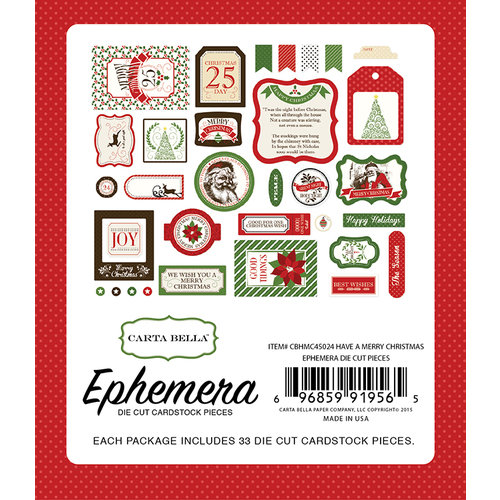Carta Bella - Have a Merry Christmas Collection - Ephemera