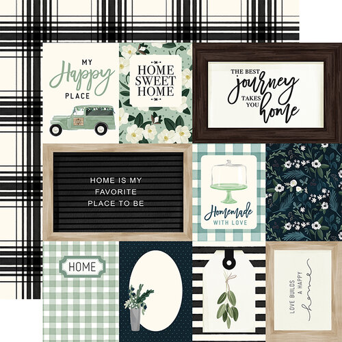 Carta Bella Paper - Home Again Collection - 12 x 12 Double Sided Paper - Journaling Cards