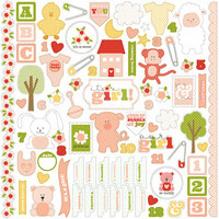 Carta Bella Paper - It's a Girl Collection - 12 x 12 Cardstock Stickers - Elements