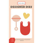 Carta Bella Paper - It's a Girl Collection - Designer Dies - Bib and Rattle
