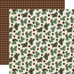 Carta Bella Paper - Let it Snow Collection - 12 x 12 Double Sided Paper - Pinecone Flurry