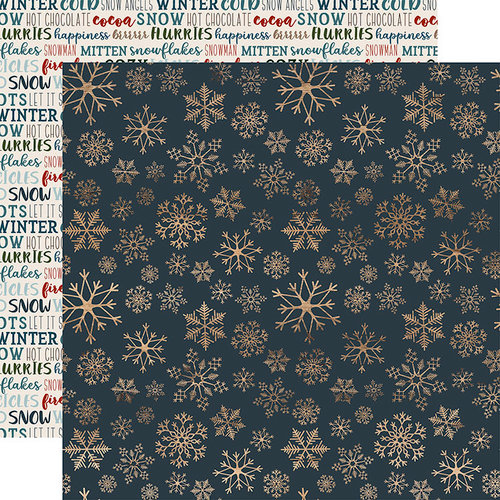 Carta Bella Paper - Let it Snow Collection - 12 x 12 Double Sided Paper - Icy Snowflakes