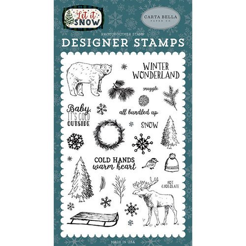 Carta Bella Paper - Let it Snow Collection - Clear Photopolymer Stamps - Cold Hands, Warm Heart