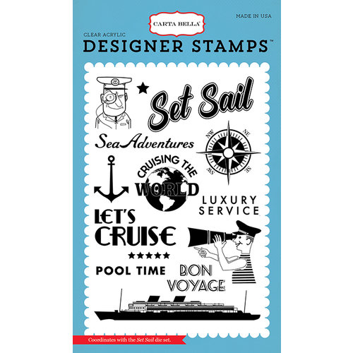 Carta Bella Paper - Let's Cruise Collection - Clear Acrylic Stamps - Set Sail