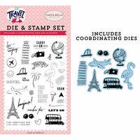Carta Bella Paper - Let's Travel Collection - Designer Die and Clear Photopolymer Stamp Set - Let's Go
