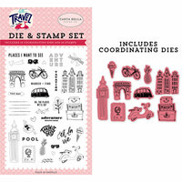 Carta Bella Paper - Let's Travel Collection - Designer Die and Clear Photopolymer Stamp Set - Adventure Begins Here