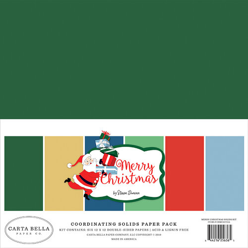 Carta Bella Paper - Merry Christmas Collection - 12 x 12 Paper Pack - Solids