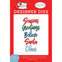Carta Bella Paper - Merry Christmas Collection - Designer Dies - Season's Greetings Word