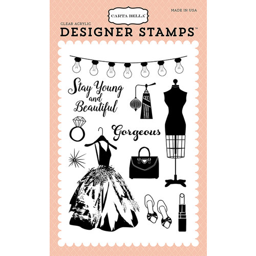 Carta Bella Paper - Metropolitan Girl Collection - Clear Photopolymer Stamps - Gorgeous Girl