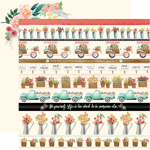 Carta Bella Paper - Flower Market Collection - 12 x 12 Double Sided Paper - Border Strips