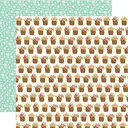 Carta Bella Paper - Flower Market Collection - 12 x 12 Double Sided Paper - Flower Baskets